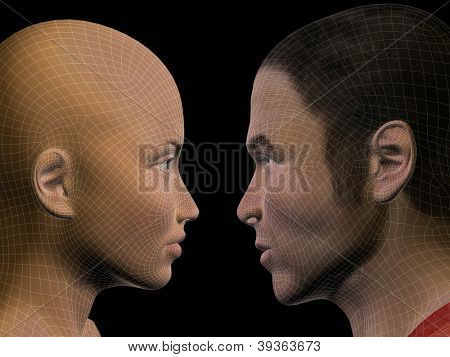 High resolution concept or conceptual 3D wireframe human male or female head isolated on black background as metaphor for technology,cyborg,digital,virtual,avatar,model,science,love,relation or future