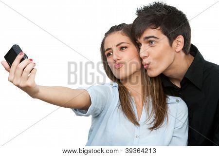 Couple Having Fun Taking Self Portrait.