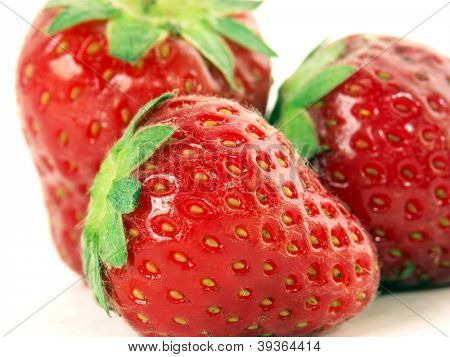 Fresh strawberry on white background.