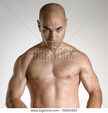 Strong fighter man portrait.