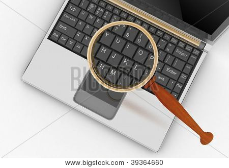 conception of search of answers or support in the Internet. Laptop and magnifying glass.