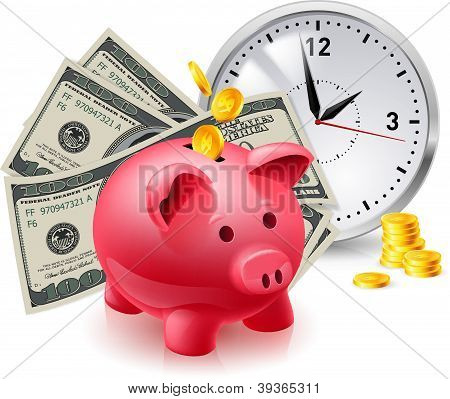 Pig moneybox and money