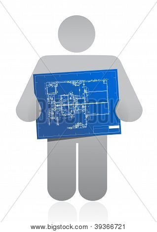 Icon Holding A Blueprint