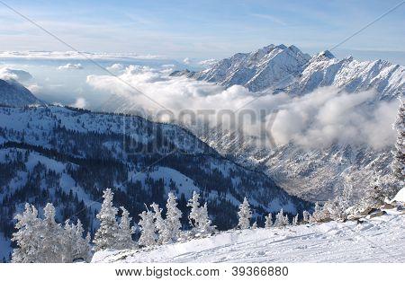 Mountains view from summit of Snowbird skiing resort Utah