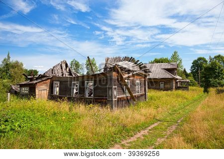 Old Wooden House In Russian Village. Novgorod Region, Russia.