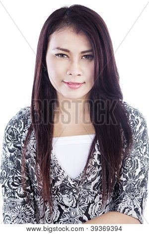 Close-up Of Beautiful Businesswoman Isolated In White
