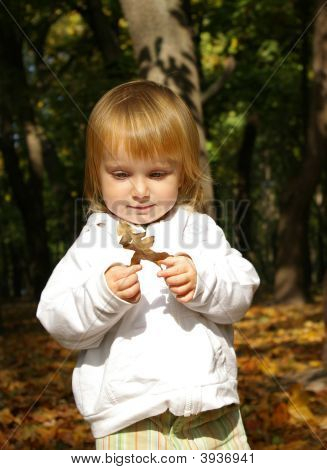 Little Girl With Oak Leaf