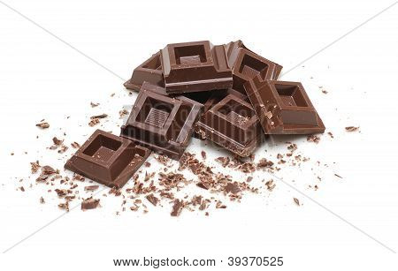 Dark Chocolate Broken Squares Isolated On White