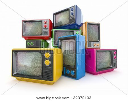 Heap of vintage tv. End of television. Conceptual image. 3d