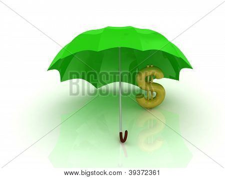 Abstraction Of A Gold Dollar Under The Green Umbrella