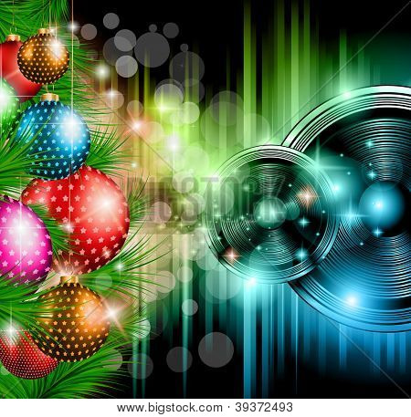 Christmas Club Party Background - Ideal for holiday discotheque event or party invitation poster.