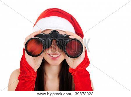 Isolated Young Christmas Girl With Binocular