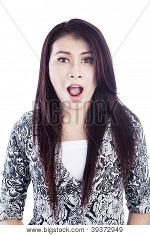 Face Of Surprise Woman Isolated Over White