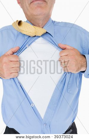 Man tearing his blue shirt like a superhero