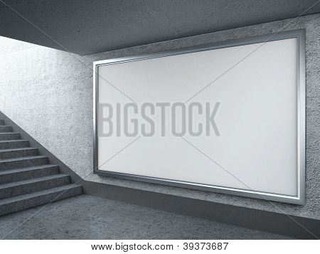 Blank billboard in subway