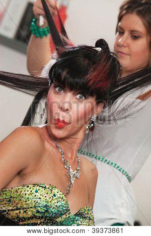 Lady In Salon Puckering Lips