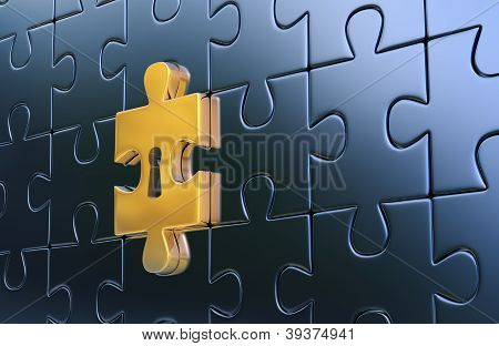 Last golden piece of metallic puzzle with keyhole