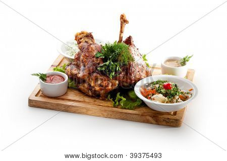 Hot Meat Dishes - Prime Rib Roast Pork with Pickled Vegetables and Sauce