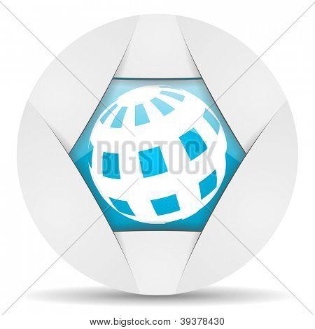 earth round blue web icon on white background