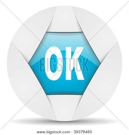 ok round blue web icon on white background