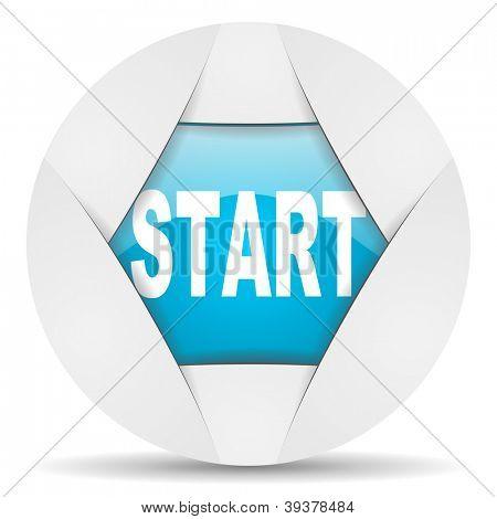 start round blue web icon on white background