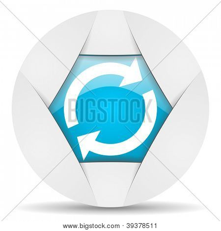 reload round blue web icon on white background