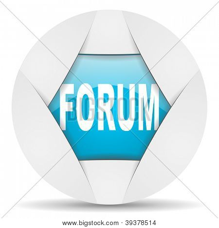 forum round blue web icon on white background