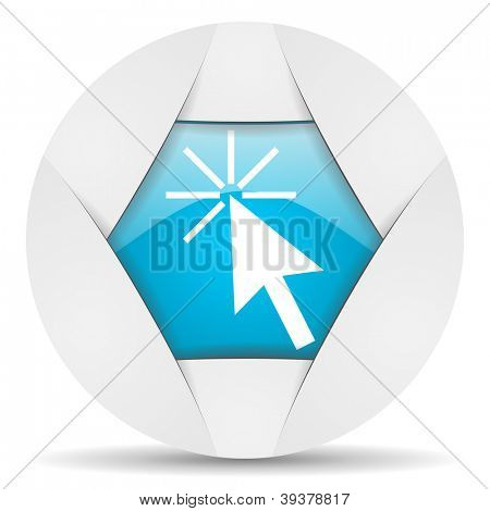 click here round blue web icon on white background