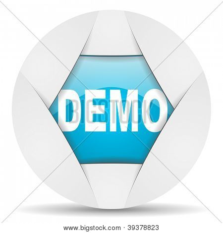demo round blue web icon on white background