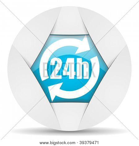 24h round blue web icon on white background