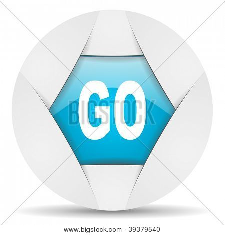 go round blue web icon on white background