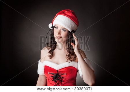 Santa girl with headset