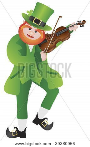 St Patricks Day Leprechaun Playing Violin Illustration