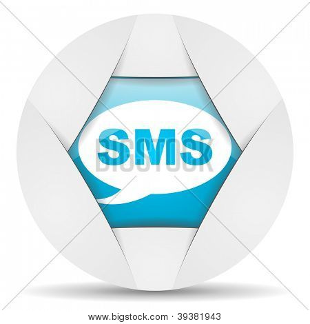 sms round blue web icon on white background