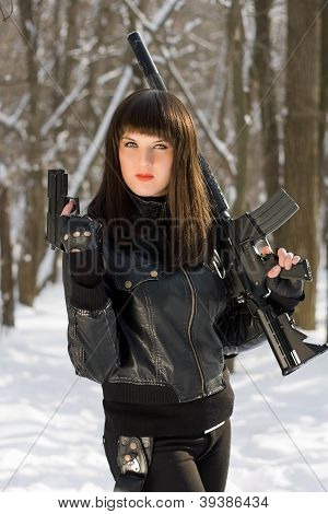 Young Woman With Weapon