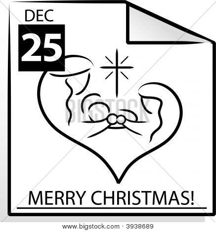 "Vector \""Merry Christmas\"" Calendar Page"