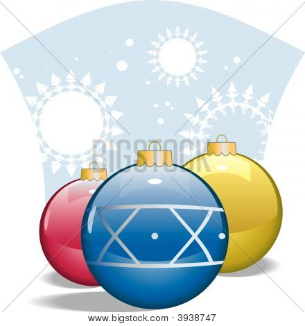 Vector Shiny Glass Christmas Ornaments
