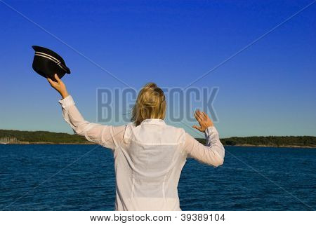 Woman Waving Goodbye