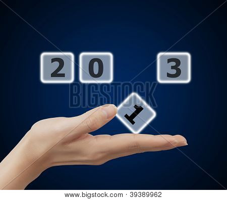 Woman Hand Holding Button 2013 Keyword
