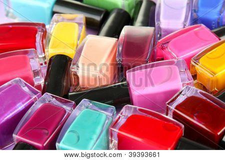 Group of bright nail polishes, close up