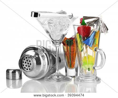 Cocktail shaker and  other bartender equipment isolated on white