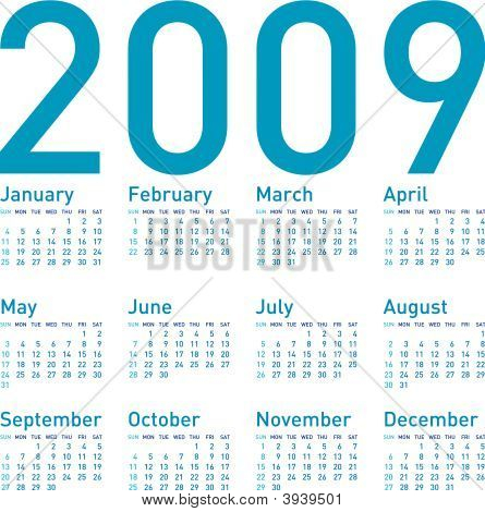 Blue Calendar 2009