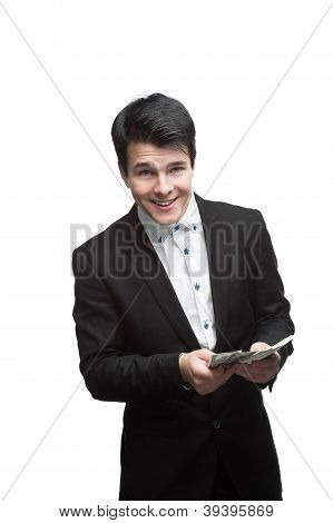 young smiling business man holding money