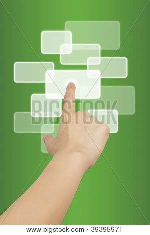 Woman Hand Touching Button