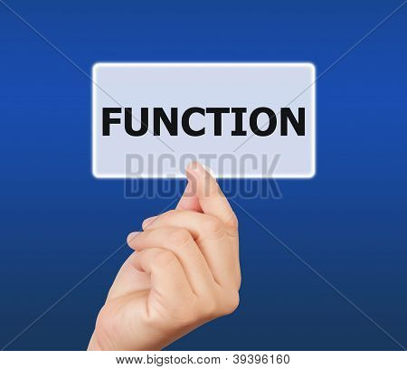 Man Hand Holding Button Function Keyword