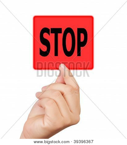 Man Hand Touching Button Stop Keyword