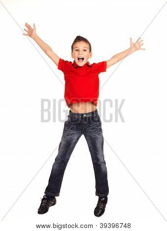 Happy Boy Jumping With Raised Hands Up