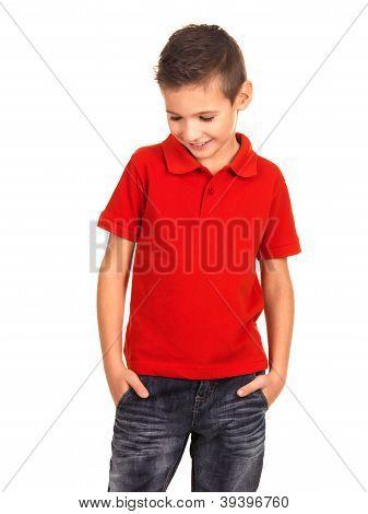 Young Beautiful Boy Posing At Studio As A Fashion Model.