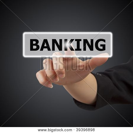 Woman Hand Touching Button Banking Keyword