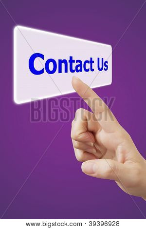 Woman Hand Touching Button Contact Us Keyword